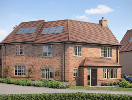Architectural CGI impression of the Chadwick house type on the Papworth housing development