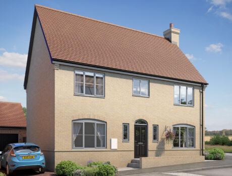 Architectural CGI impression of the Eddington house type on the Papworth housing development